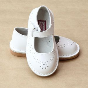 L'AMOUR Classic Leather Mary Janes | White